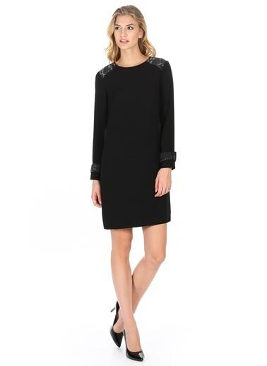 Cotton Bar Uzun Kollu Düz Elbise Siyah